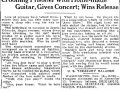 Newspaper clipping about a handmade guitar performer