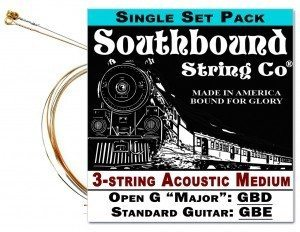 Southbound Strings Open G 3-string Set
