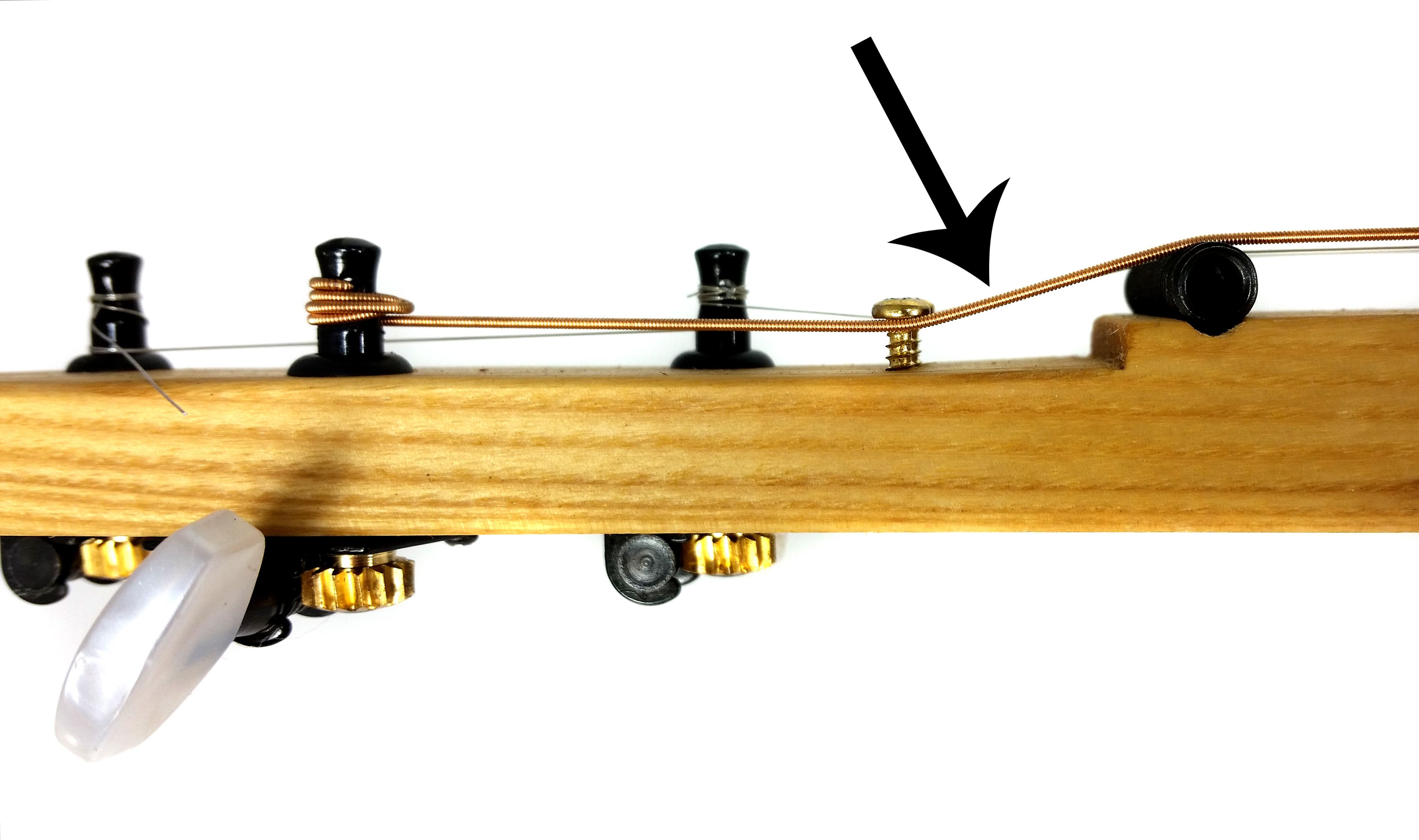 Zero frets how and why to use them on cigar box guitars this photo shows how retaining screws can be used to adjust the break angle hexwebz Images