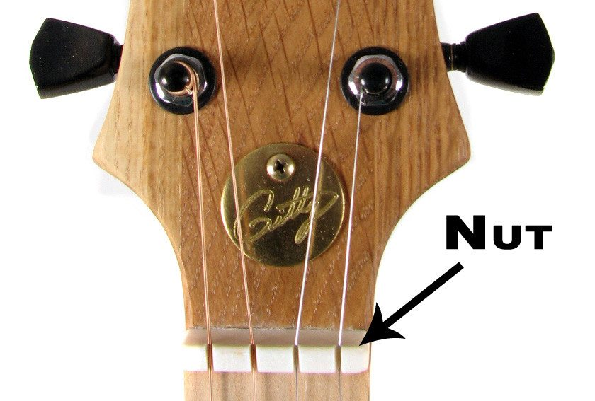 Of a standard bone nut in use on a four string cigar box guitar