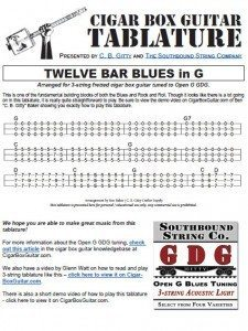 12 Bar Blues inG Cigar Box Guitar Tablature PDF