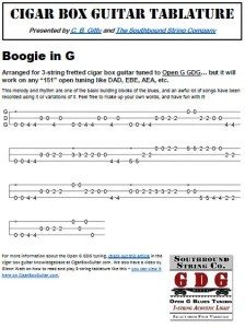 Boogie Woogie in G Cigar Box Guitar Tablature