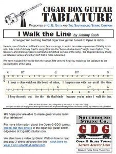 I Walk the Line by Johnny Cash - Cigar Box Guitar Tabs PDF