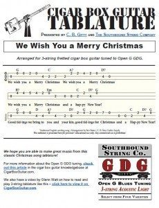 Click this link or the image below to view the printable PDF: We Wish You a Merry Christmas Cigar Box Guitar Tablature PDF