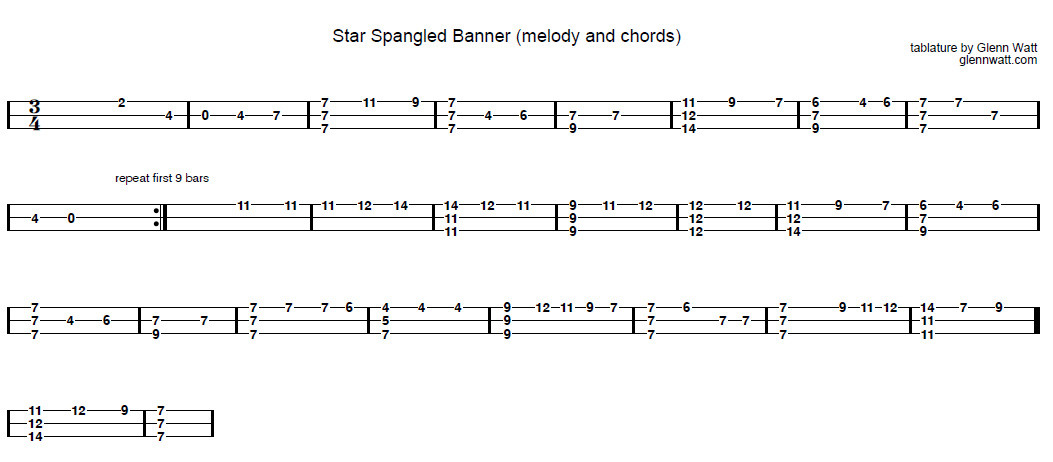 The Star Spangled Banner - 3-string Open G GDG - Cigar Box Guitar Tablature