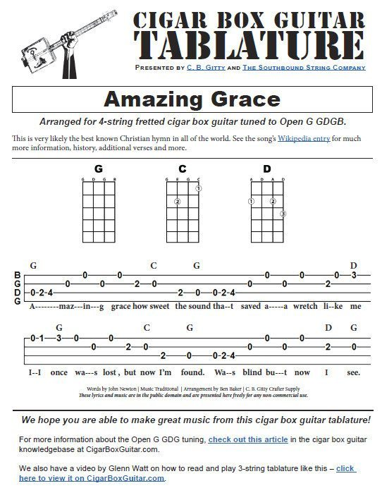 Amazing Grace - 4-string Open G GDGB - Cigar Box Guitar Tablature