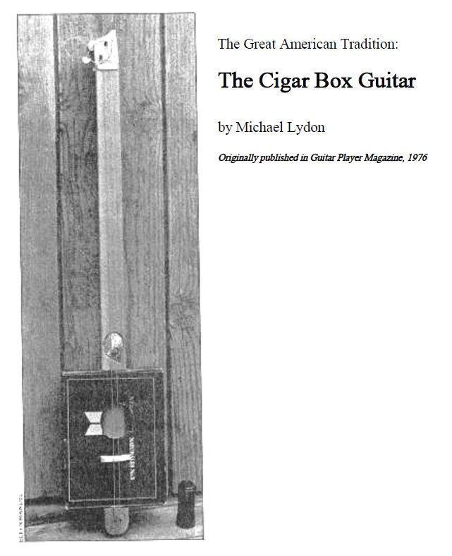 2-string Cigar Box Guitar Plans - Guitar Player Magazine 1976