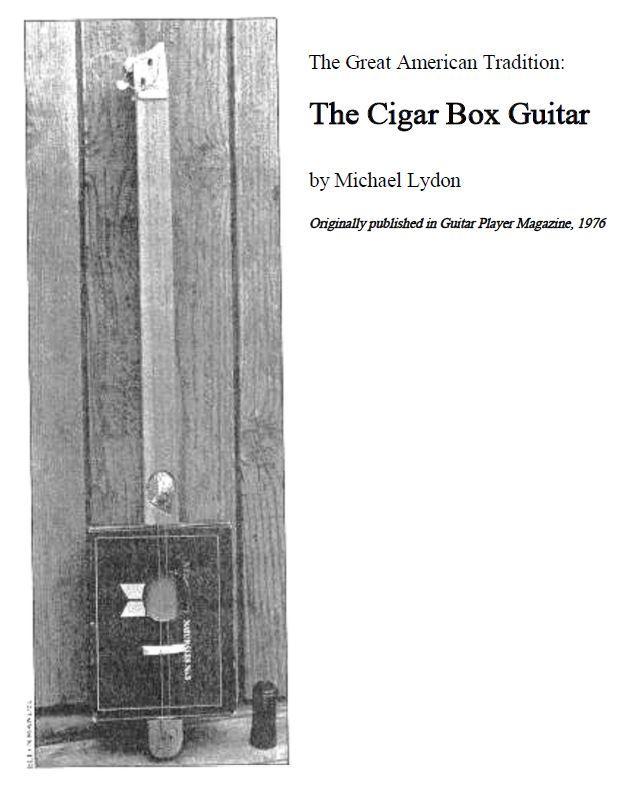 2-string Cigar Box Guitar Plans - Guitar Player Magazine 1976