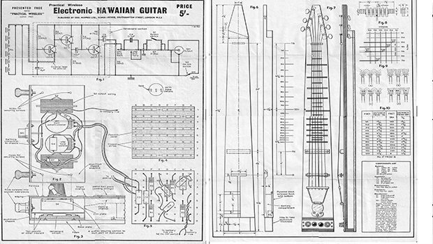 1965 Hawaiian Lap Steel Guitar Plans Full Size PDF Download
