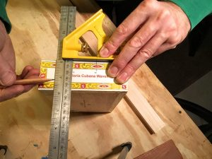 "measure down 3/4"" (19mm) from box lid"