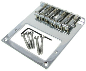 This 6-string hard-tail bridge includes an opening for a standard Fender-sized humbucker pickup. This bridge is available as shown from CBGitty.com
