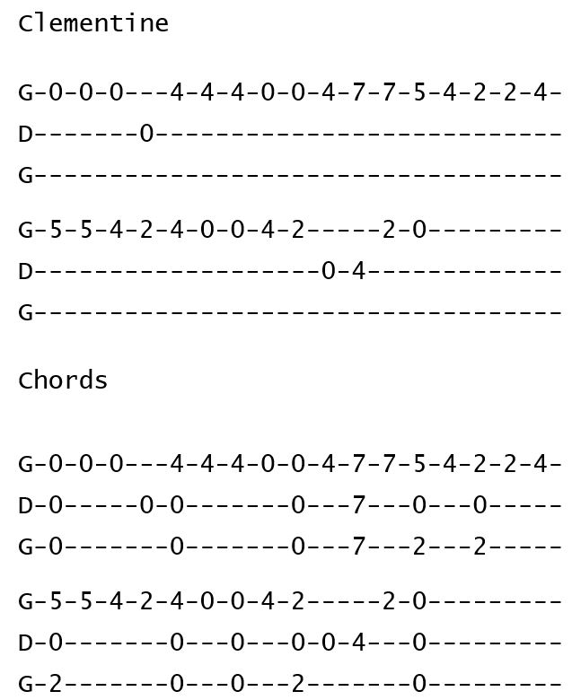 Oh My Darling, Clementine - Tab for Open G GDG Cigar Box Guitars