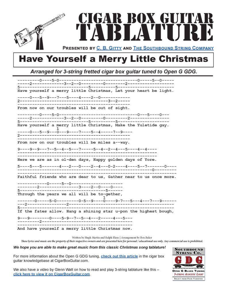 click this link or the image below to view the printable pdf have yourself a merry little christmas 3 string cigar box guitar tablature pdf