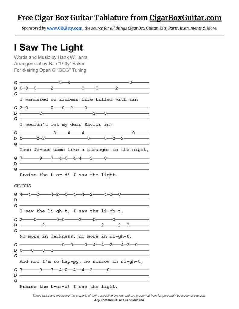 I Saw The Light Tablature Image Link
