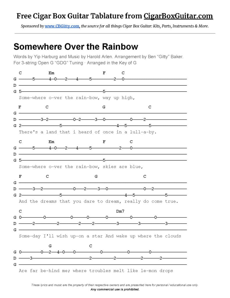 Somewhere Over The Rainbow Tablature For 3 String Cigar Box Guitar