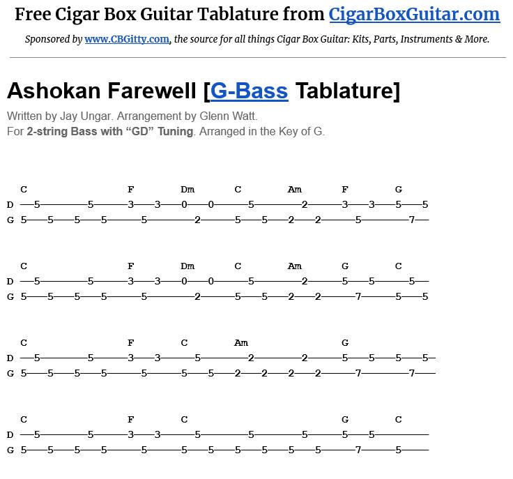 Ashokan Farewell 2-String G-Bass Tablature