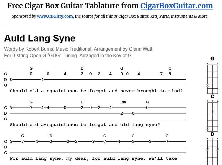 3-string cigar box guitar tablature for Auld Lang Syne