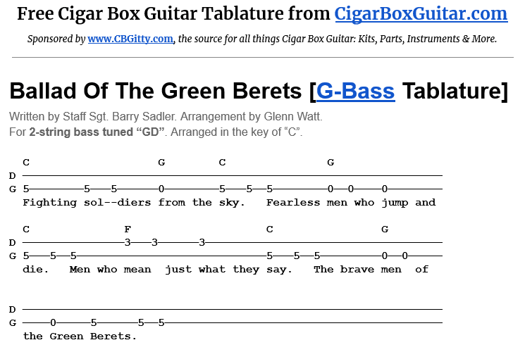 Ballad Of The Green Berets 2-String G-Bass Tablature