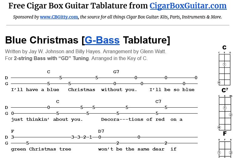 Blue Christmas 2-String G-Bass Tablature