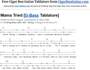 Mama Tried 2-string G-Bass Tablature