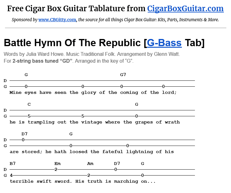 Battle Hymn Of The Republic 2-string G-Bass tablature