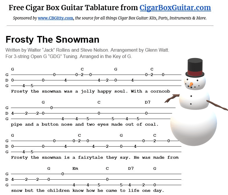 Frosty The Snowman 2-string G-Bass tablature