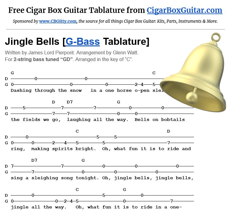 Jingle Bells 2-string G-Bass tablature