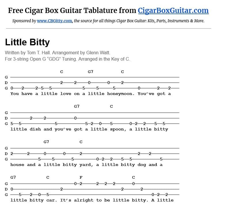 Little Bitty 3-string cigar box guitar tablature