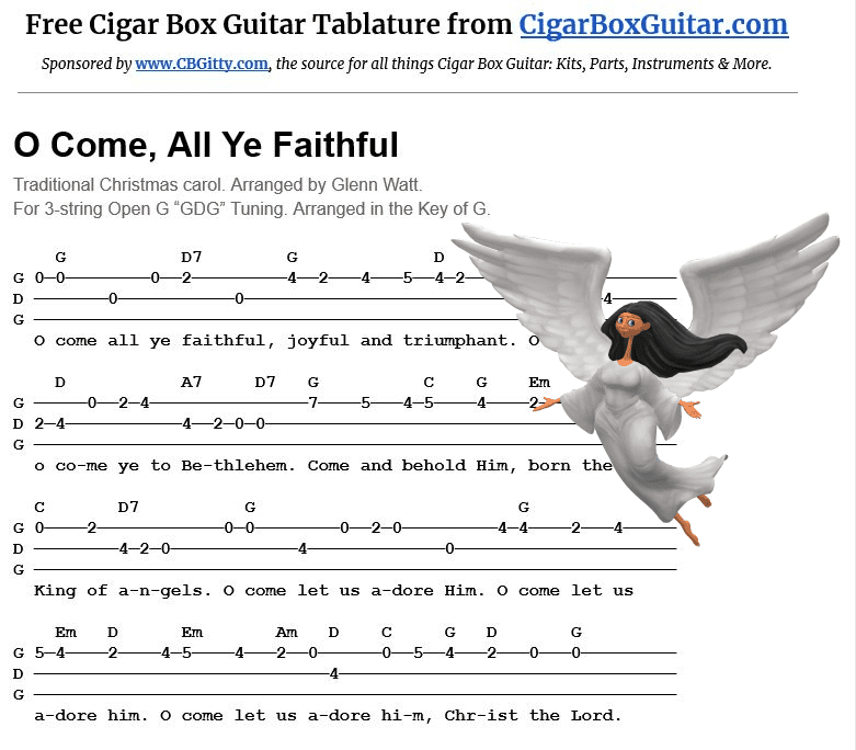 O Come All Ye Faithful 3-string cigar box guitar tablature