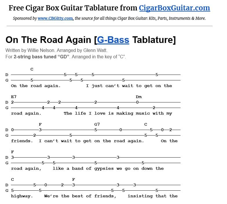 On The Road Again 2-string G-Bass tablature