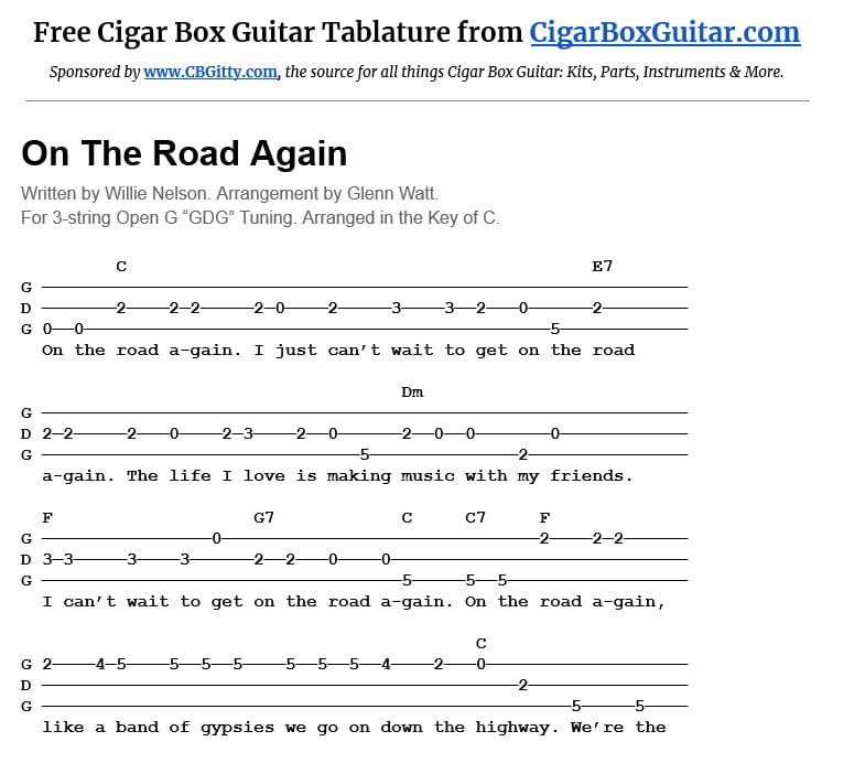 On the Road Again 3-string cigar box guitar tablature