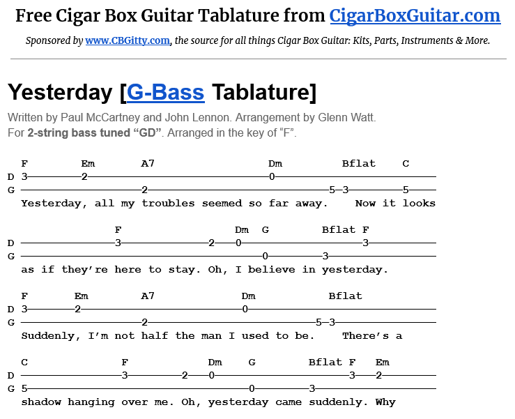 Yesterday 2-String G-Bass Tablature
