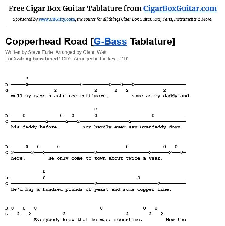 Copperhead Road 2-string G-Bass tablature