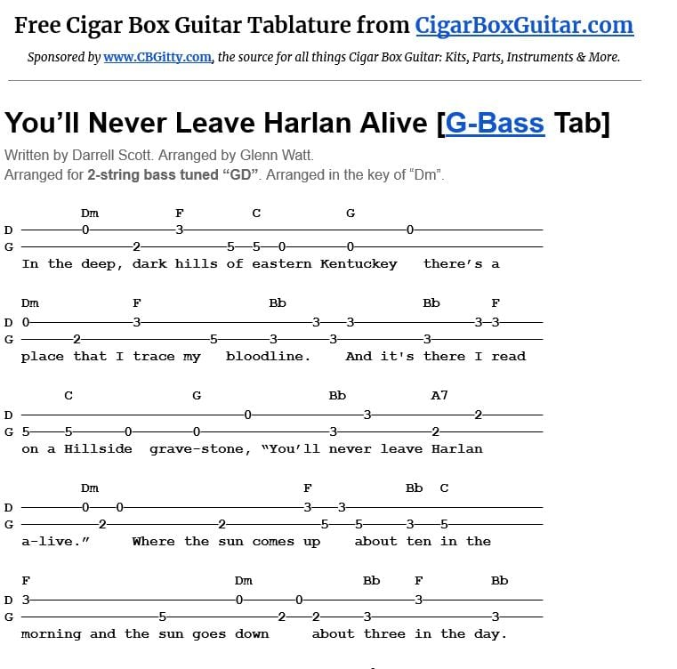 You'll Never Leave Harlan Alive 2-string G-Bass tablature