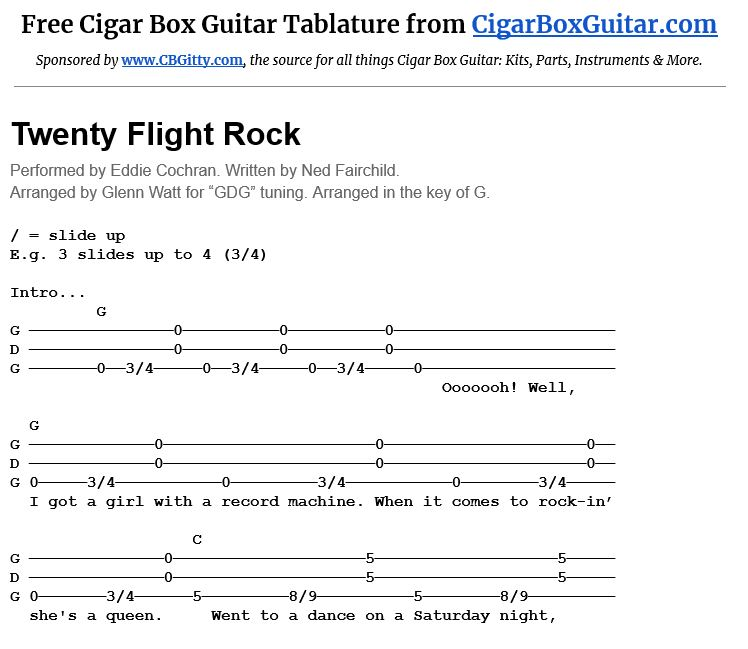 image of Twenty Flight Rock 3-string cigar box guitar tablature